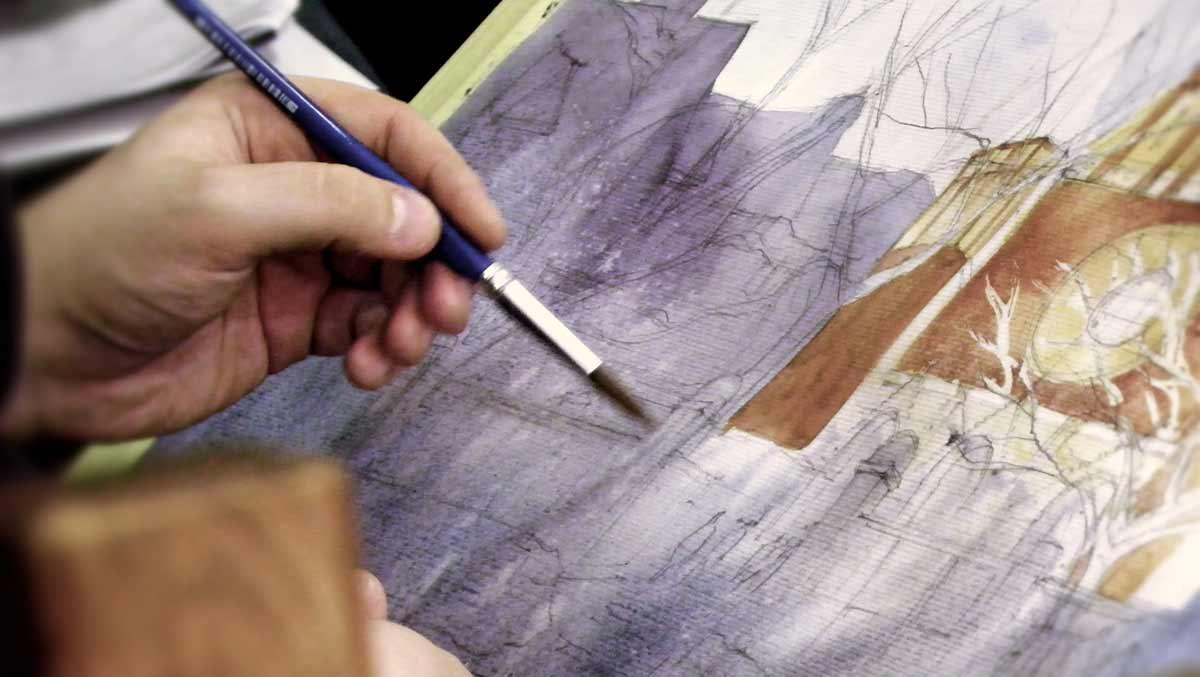 domin, akwarela, watecolour, painting, kurs, malarstwo, szkoła rysunku, sztuka, malowanie, kurs akwarela