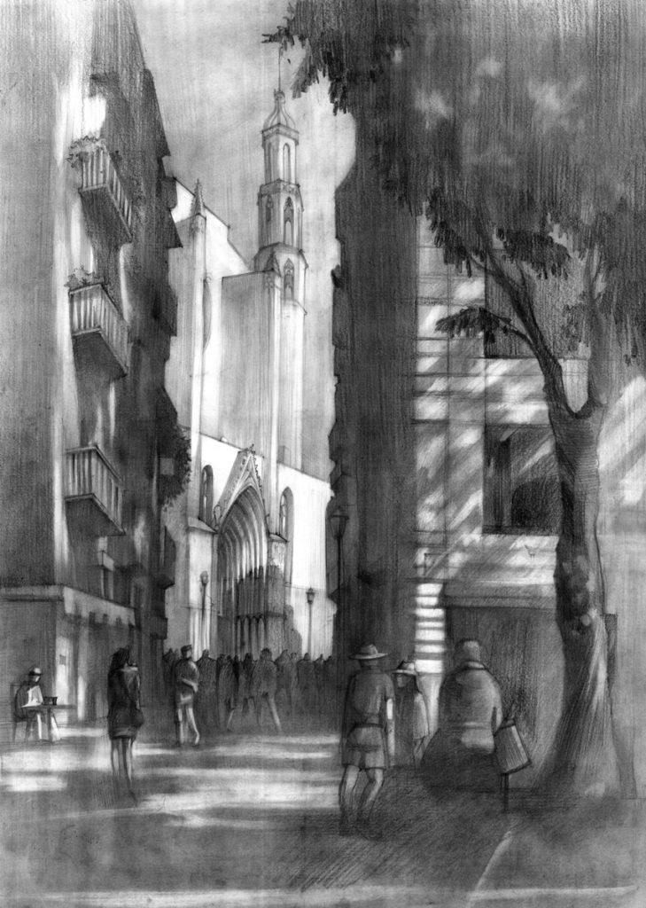 rysunki, barcelona, uliczka, architektura, poznań, ołówek, rysunek, grafika, kurs rysunku, szkoła rysunku, kurs architektury, architektura poznania, drawing, wapp, wydział architektury, domin