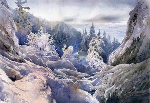 zimowa akwarela