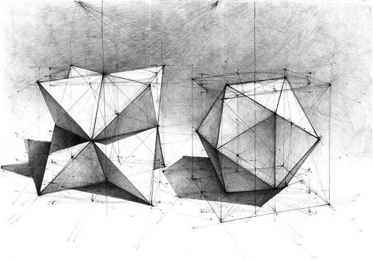 DOMIN Poznań kurs rysunku, bryły, rysunek,perspektywa, architektura, poznan, geometria